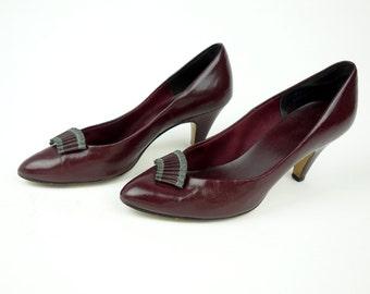Burgundy plum red wine heels, 3 inch leather pumps, fan toe applique, size 5.5