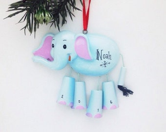 FREE SHIPPING Elephant Personalized Christmas Ornament - Zoo Animal Ornament - Hand Personalized Christmas Ornament