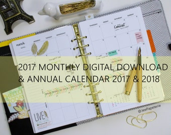 "2017 DIGITAL PDF Monthly Calendar Inserts with 2 Yearly Calendars - 5.5""x8.5"" Half-Letter Size (fits into A5 Planners) MO2P"