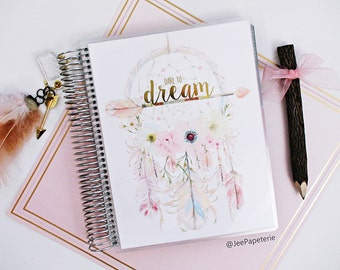 "Planner COVER, Erin Condren Cover, Happy Planner Cover, Recollections Cover, Levenger Cover: Dreamcatcher Gold Foiled ""Dare To Dream"""