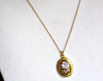Vintage Gold Filled Locket, Etched Flower Locket