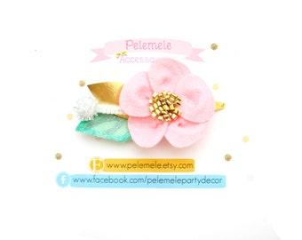 Pink Felt Flower Hair Clip - Pink Hair Flower, Flower Hair Clip, Pink Flower, Hair Clips for Girls,Pink Hair Bow, Felt Hairclip