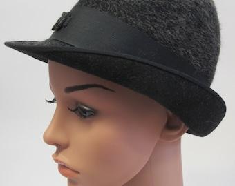 Vintage Charcoal Grey Bowler Hat, vintage bowler hat, grey vintage hat with brim, grey bowler hat