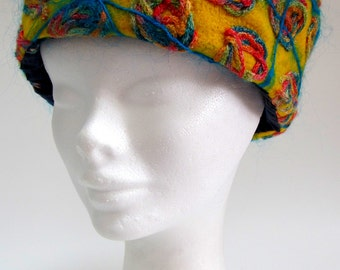 Yellow Felted Cloche Hat