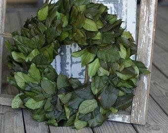 Wreath, Preserved Wreath, Preserved Salal Wreath, Lemon Leaf Door Wreath, Indoor Wreath, Green Leaf Wreath, Dried Flower Wreath, Dried Salal