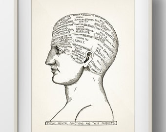 Twelve Mental Functions Phrenology - 1899 - PP-12 - Fine art print of a vintage scientific or pseudoscience antique medical illustration