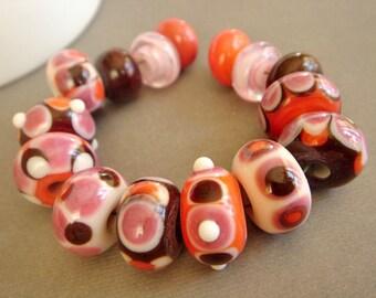SRA Lampwork Beads, Pink Lampwork Beads, Large Hole Lampwork, Destash Lampwork Beads, 15 pieces