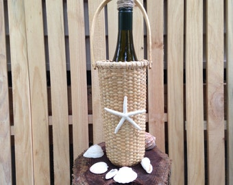 Nantucket style lightship wine holder  basket with starfish coastal theme wedding centerpiece table buffet