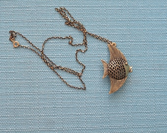 "fish pendant necklace - gold tone / bronze tone pendant on black & gold chain (32"")"