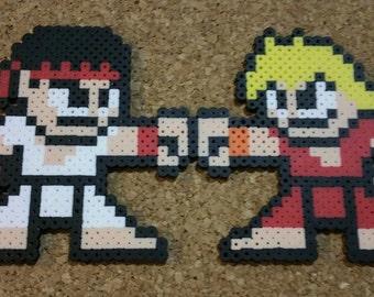 Ryu & Ken Fist Bumping | Street Fighter, Capcom | 8-bit art