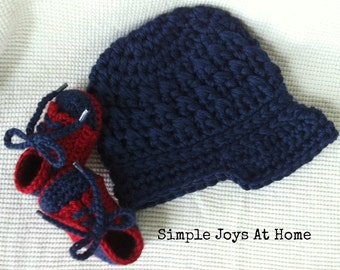 The Brayden Set {The Baby Project} Navy and Red Crocheted Hat and Shoe Set // Infant Boy Set // Baby Shower Gift // Photo Prop