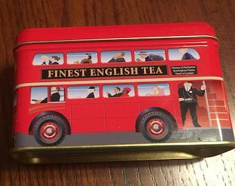 English Tea Tin - Double decker bus - Excellent Condition