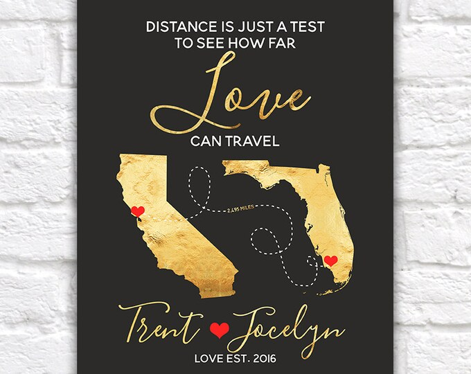 Featured listing image: Personalized Wedding Map, Gift for Couples Art, Bridal Shower Gift, Love Travels, Long Distance Relationships, Wedding Sign   WF260
