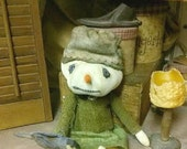Primitive Snow Girl Doll, Sitting OOAK Snowman, Snow Lady And Bird, Winter Folk Art Christmas Stuffed Dolls