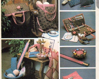 McCalls 8294, Sewing Pin Cushion, Knitting Needle Bag, Crochet Hook Bag, Knitting Bag, Crochet Bag, Basket Liner and Chatelaine Patterns