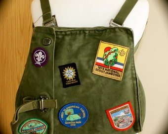 Unique Quirky Army-Surplus Gas Mask Bag with Travel and Scout patches
