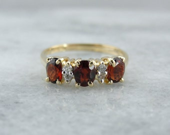 Classic Red Garnet Three Stone Anniversary Ring or Birthstone for January Gift  UUFC73-D