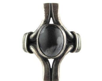 Vintage  Modernist Cabochon Sterling Silver 925  Ring Size7.5