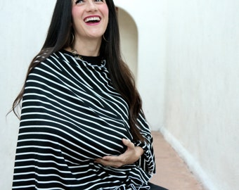 Lightweight Full Coverage Black Stripe Nursing Cover/ Doubles as a Carseat Cover/ Nursing Poncho
