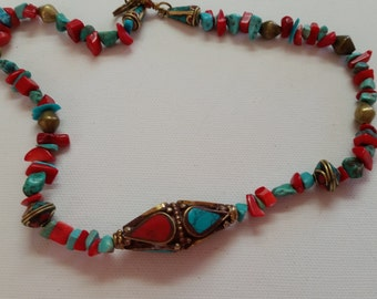 Sale Handmade Pakistan Inspired Beaded Necklace,  Handmade Middle Eastern Beaded Necklace,  Turquoise and Coral Necklace