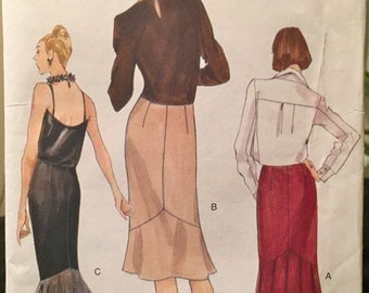 1990's Vogue Patterns Slim Wiggle Skirt with Side Zipper, Contoured Waist, Flounce Variations, or Kick Pleat Size 8-10-12 Uncut Pattern 9726