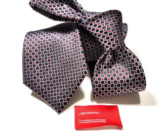 Silk Tie with Squares of Apple Red White and Black