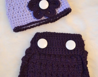 Crocheted Purple Diaper Cover Hat Set 12-18 Months Ready to Ship