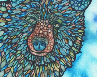 Mosaic Bear 5 x 7 print of watercolour artwork in beautiful earth tones & turquoise, wildlife wild encounter wilderness nature forest woods