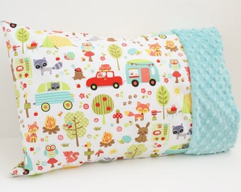 Travel or Toddler Size Pillowcase - Camping Theme - Cotton and Minky Pillow case - For 12 x 16 or 13 x 18 Inch Pillow - Unisex - Boy or Girl