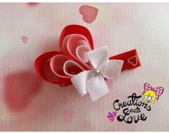 Heart Ribbon Sculpture Hair Cllip. Valentines Day Hair Clip