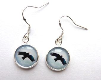 Black Bird Earrings, Chough Bird, Corvid Crow Jewellery, OOAK, Bird Photo Dangle Earrings, Bird Jewellery, Photo Jewellery Jewelry