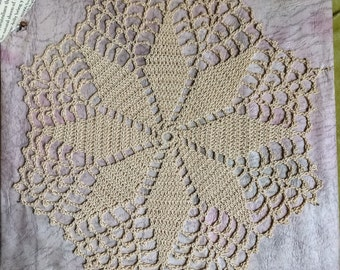 Antique Lace Doily Handmade Crocheted Antiqued Beige Eight Point Star 1890's 1900's Home Decor Victorian Era Hand Stitched Cottage Chic RARE