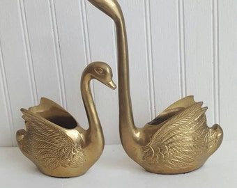 Set of brass swans made in Italy swan planter mid century brass bird golden goose set planter gold swan figurine boro decor farmhouse decor