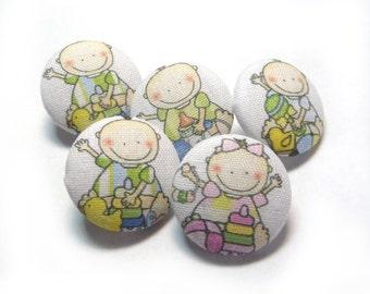 Small Fabric Buttons Set, cloth buttons, children kids button, green blue pink button, sewing embellish buttons, baby toddler dress