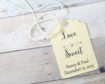Antique Gold Wedding Gift Tags set of 20 - Personalized Gold Wedding Favor Tags - Love is Sweet - Antique Gold Bridal Shower