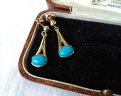Vintage 9ct Gold & Turquoise Earrings