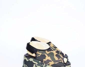 Vintage 90's Camouflage Platform Sandals with Slingback Velcro Strap