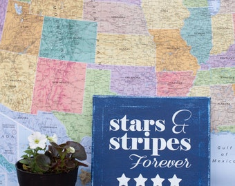 Stars and Stripes Fourth of July Canvas Art