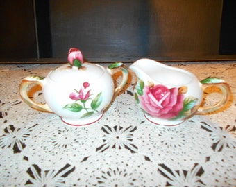 "Vintage PY ""Regal Rose"" Creamer and Sugar Set"