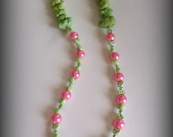 Reversible Pink and Green Watermelon Inspired Pearl Necklace. Gifts for her. Unique. Beaded Necklace. Gift. Beaded Jewelry