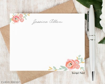 Personalized Stationary Set / Watercolor Personalized Stationery / Custom Note Cards / Pink Floral Notecard Set // WATERCOLOR FLORALS III