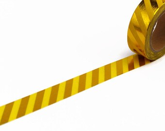 Yellow Washi tape with Gold Foil Diagonal Stripe - Metallic Decorative Tape