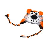 Animal Hat, Tiger Hat, Crochet Tiger, Kids Winter Hat, Tiger Photo Prop, Jungle Theme Baby, Wild Baby Hat, Orange Black White, Ears Hat Baby