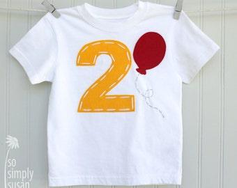 Pooh birthday, 2 birthday shirt, boys number shirt, red balloon T, boy's 2 shirt, boys 2nd birthday, white 2 tshirt, hand stitched, yellow 2