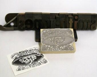 "Letterpress Printing Block ""La Calaveras Catrina - The Elegant Skull"" - Letterpress Blocks - Print Blocks - Mounted Letterpress Block"