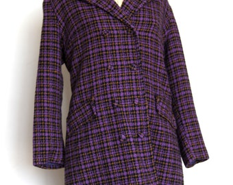 Purple plaid mini skirt suit 60's carnaby M