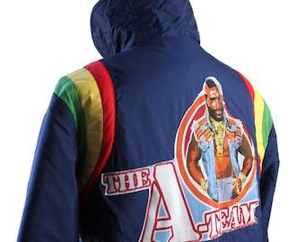 A Team Mr T Navy Rainbow Striped Winter Jacket - Size Medium - altered vintage