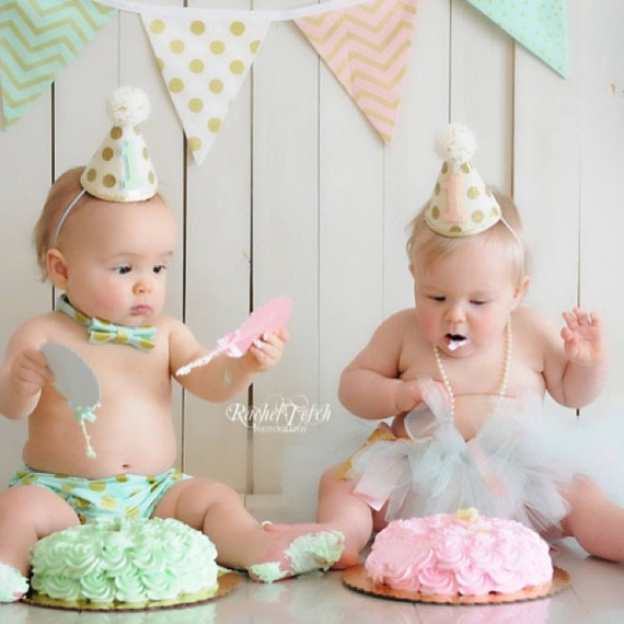 Girl Boy Twins 1st Birthday Gold Polkadot Small Party Hats - Cake ...