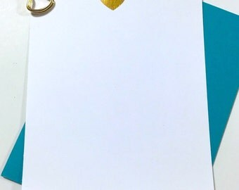 Gold Heart Stationery - Heart Note Cards - Girls Thank You Cards - Hello Cards - Kids Stationary Thank You Cards DM121