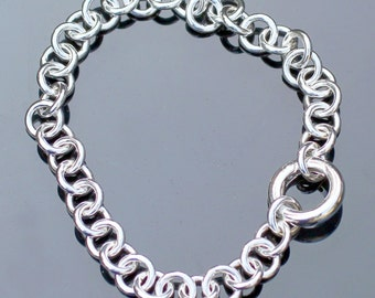 BDSM, Chain Heavy Bracelet, Discreet day collar, Pure Sterling Silver, Hidden O Ring Close.